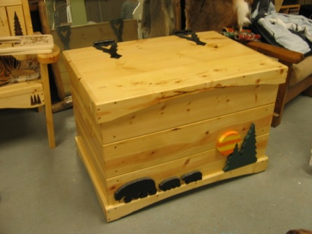 Toy Box with Bears and Sunset Pine Tree