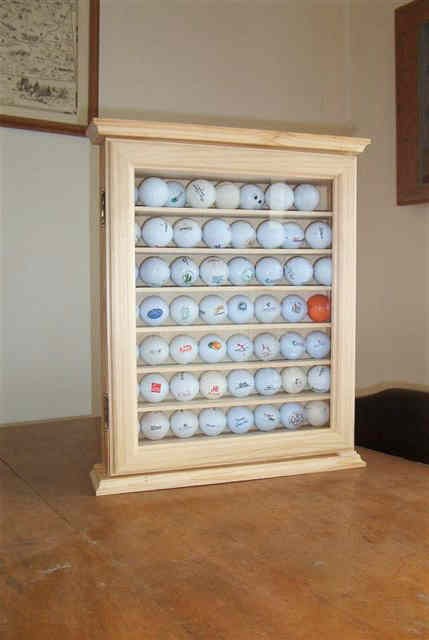Golf Ball Cabinet #2 With Wood Framed Glass Door, Brass Latch