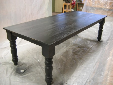 Solid Oak Dining Table In Black Lacquer