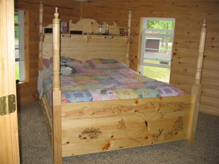 Queen Size Pine Bed with 6 Drawers