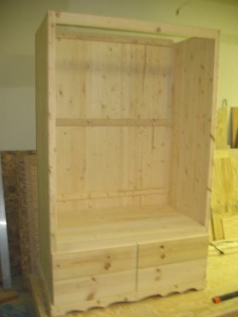 Inside Armoire before top and doors installed