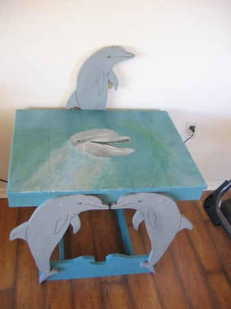 Hand Painted Dolphin Table