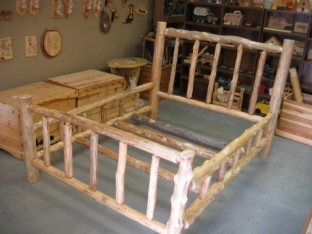 queen size log bed plans
